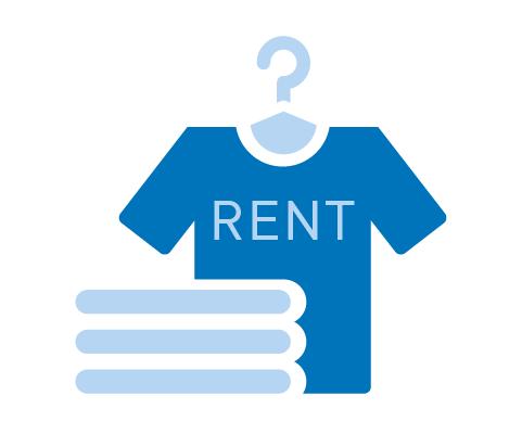 Icon von Kleidung und Handtüchern als Symbol für Mietwäsche