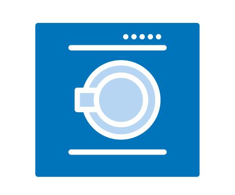 Icon einer Waschmaschine als Symbol für Großwäscherei
