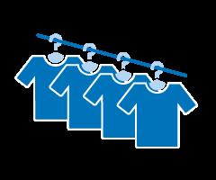Icon von Kleidung auf Kleiderstange als Symbol für Kleidung