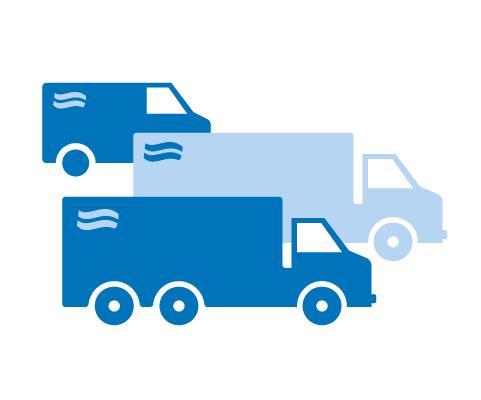 Icon von drei LKWs als Symbol für den Lieferservice