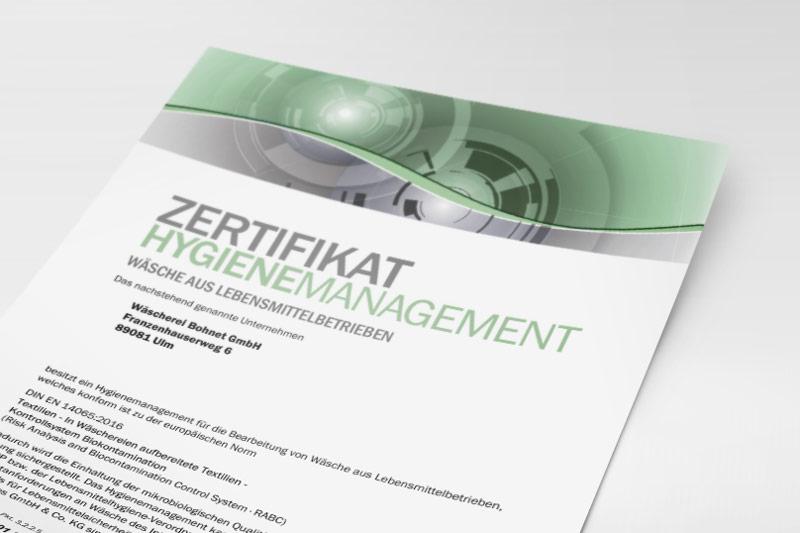 Europäisches Zertifikat der Wäscherei Bohnet für Wäsche aus Lebensmittelbetrieben