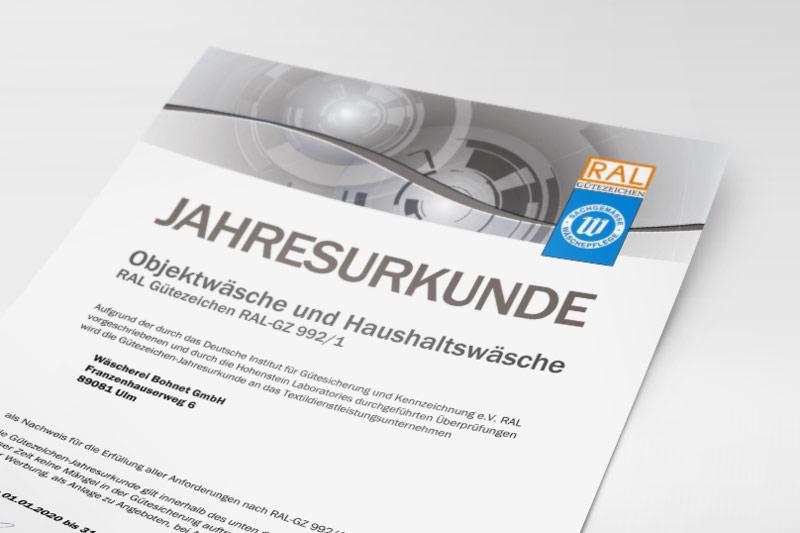 RAL-Jahresurkunde Objekt- und Haushaltswäsche der Wäscherei Bohnet