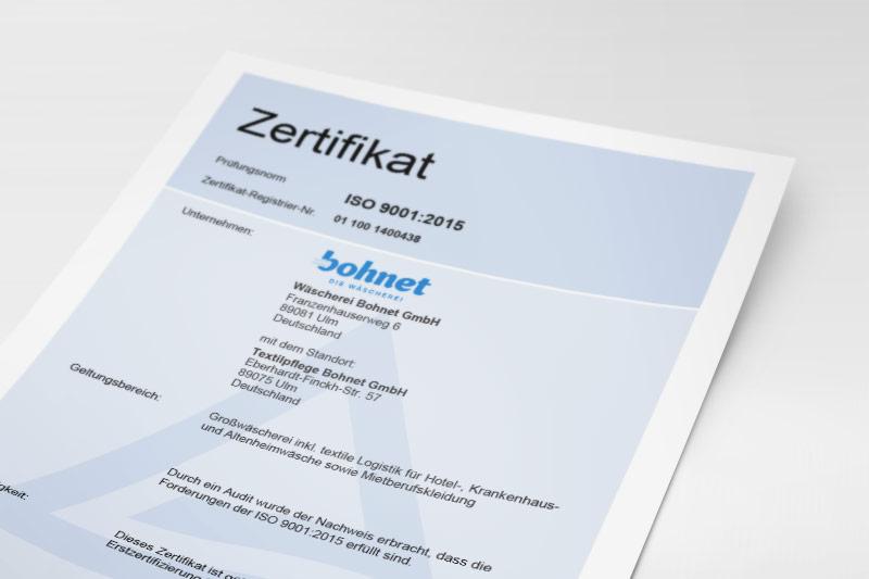ISO-Zertifikat Qualitätsmanagement der Wäscherei Bohnet
