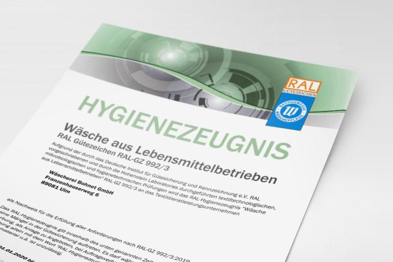 RAL-Hygienezeugnis der Wäscherei Bohnet für Wäsche aus Lebensmittelbetrieben