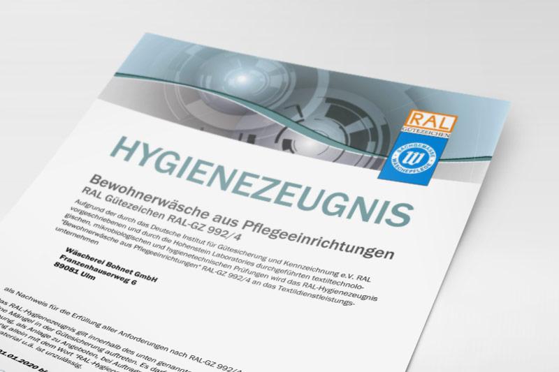 RAL-Hygienezeugnis der Wäscherei Bohnet für Bewohnerwäsche aus Pflegeeinrichtungen