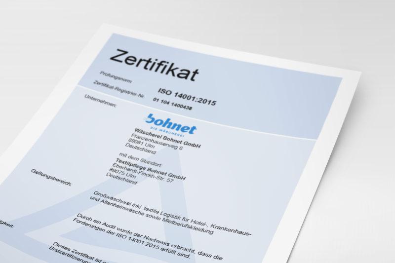 ISO-Zertifikat Umweltmanagement der Wäscherei Bohnet
