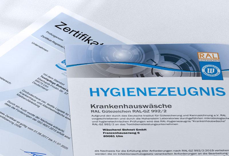 Zertifikate der Wäscherei Bohnet