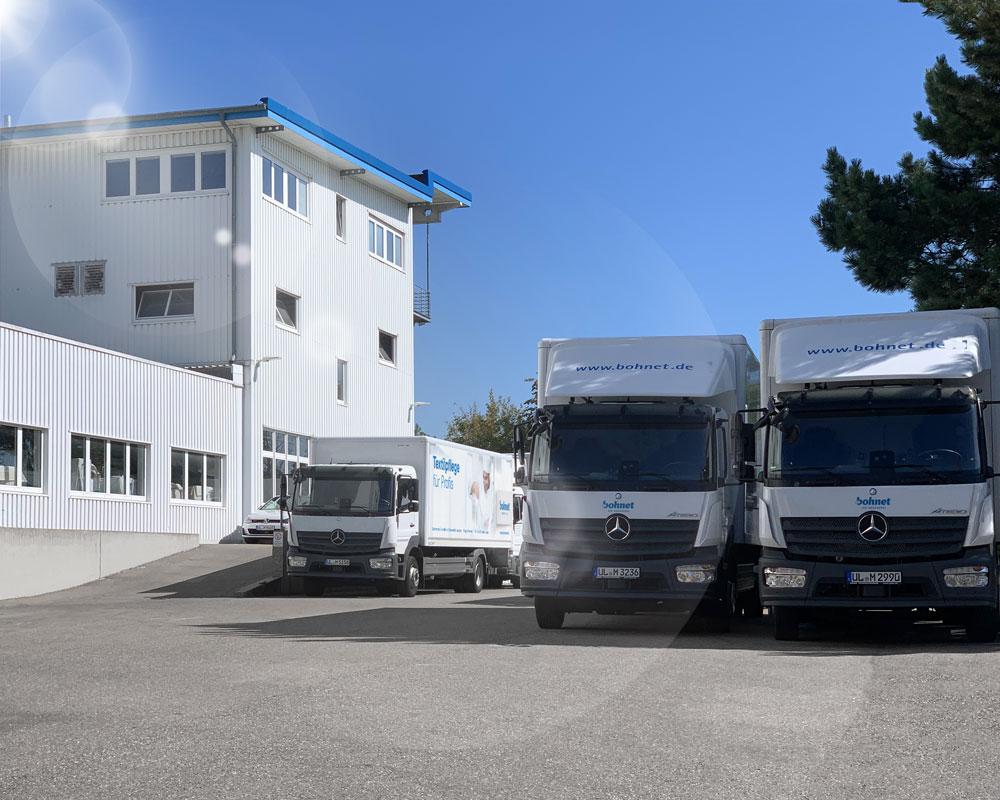 Produktionsstätte und LKW Flotte der Wäscherei Bohnet